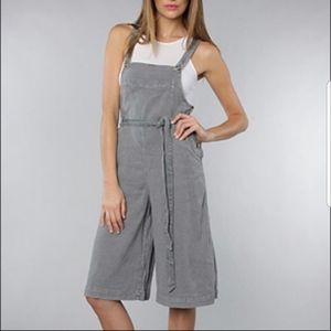 Free People Linen Wide Leg Cropped Overalls